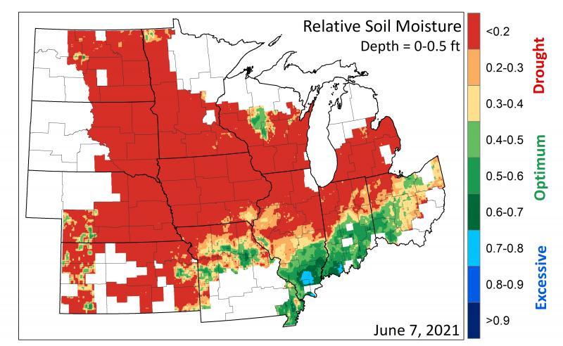 Map of Relative Soil Moisture 2021-06-07
