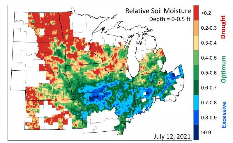 Map of Relative Soil Moisture 2021-07-12