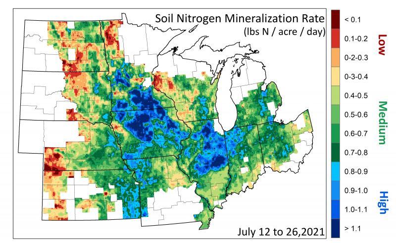 Map of Relative Soil Moisture 2021-07-26