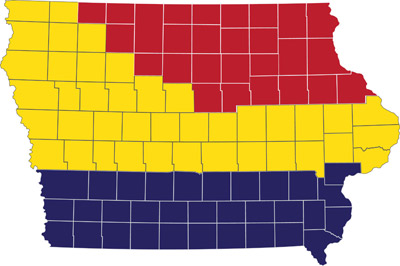 Map of Iowa showing planting date patterns.