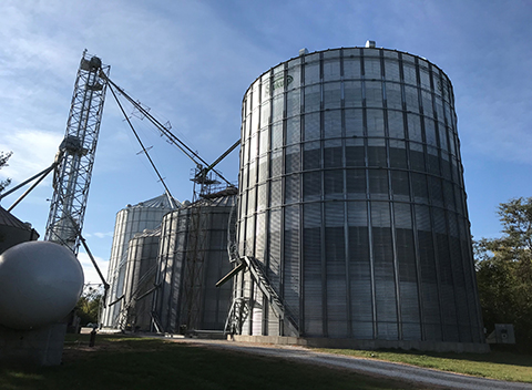 grain bins on farm