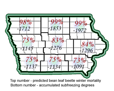 Over winter mortality of bean leaf beetles by region