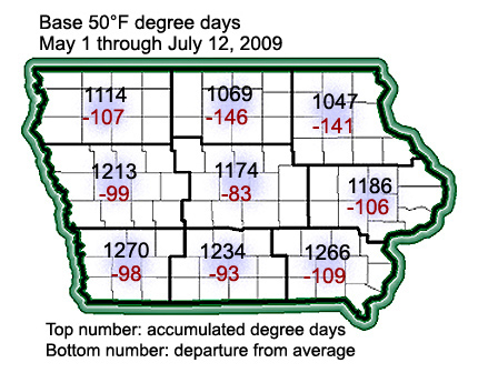 Degree day accumulation map for July 12