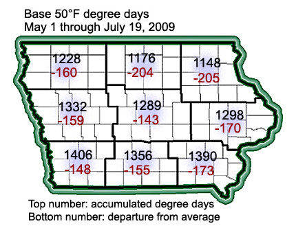 Iowa degree day accumulations through July 19, 2009