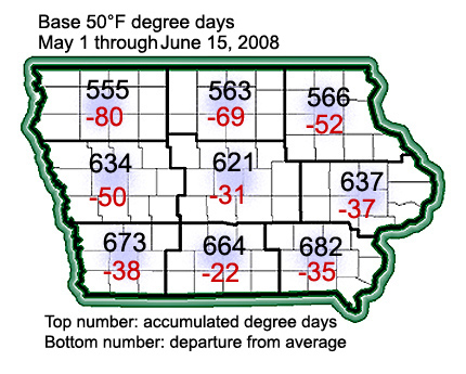 Accumulateed degree days through June 15