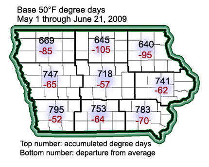 accumulated degree days in Iowa since May 1 2009