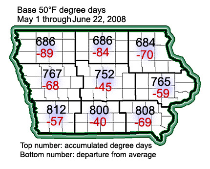 Degree day accumulations by Crop Reporting District