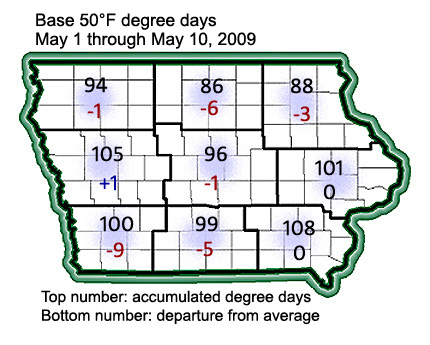 accumulated degree days as of May 10, 2009