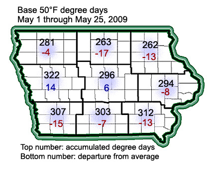 Accumulated degree days in Iowa from May 1 through May 25, 2009