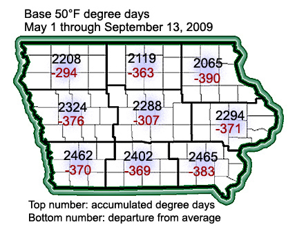 Accumulated degree days from May 1 through September 13, 2009