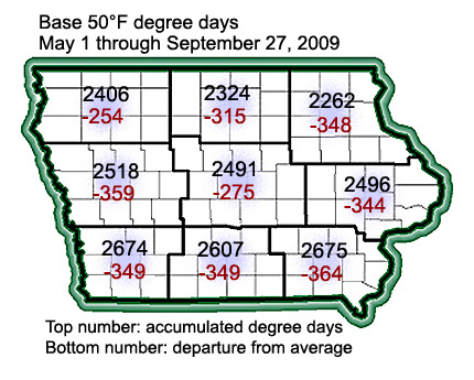 Degree day accumulation map for September 27, 2009