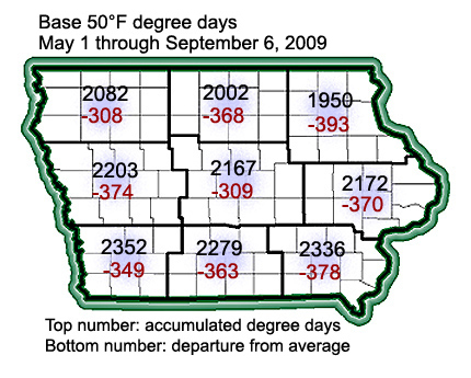 Iowa map showing degree day departures for the season through Sept. 6.