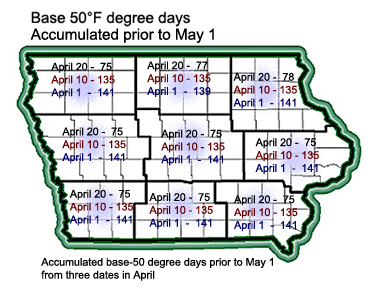 2009 degree days accumulated prior to May 1