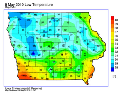 low temps map