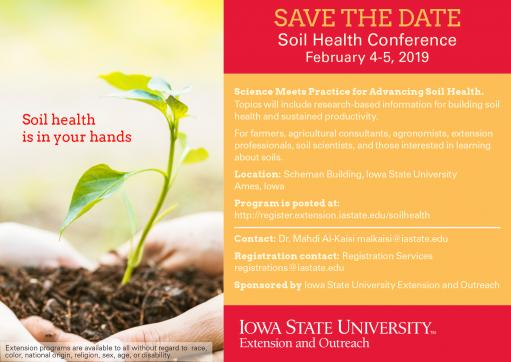 save the date postcard for the soil health conference