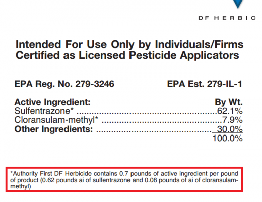 Authority First contains 0.62 lb sulfentrazone in every lb of product