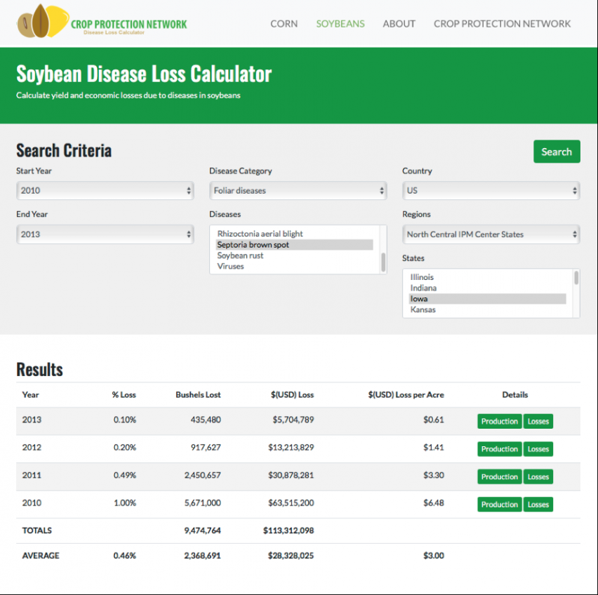 Crop Protection Network Disease Loss Calculator showing example search for losses caused by Septoria brown spot in Iowa from 2010 to 2013.
