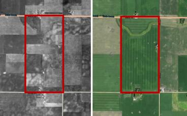 Aerial imagery from 1930s compared to imagery from 2017. Note how one field today was treated as more than 10 fields in the 1930s.