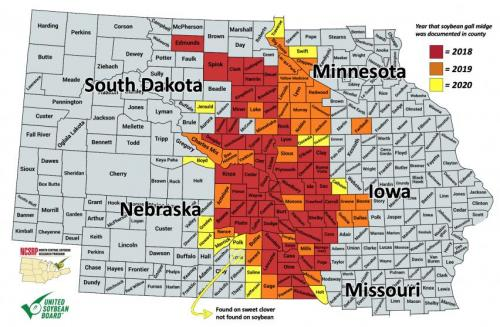 Soybean gall midge distribution map.