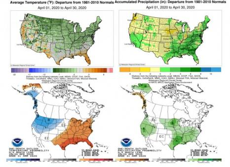 NOAA Climate Prediction Center Precipitation April Outlook vs. actual weather