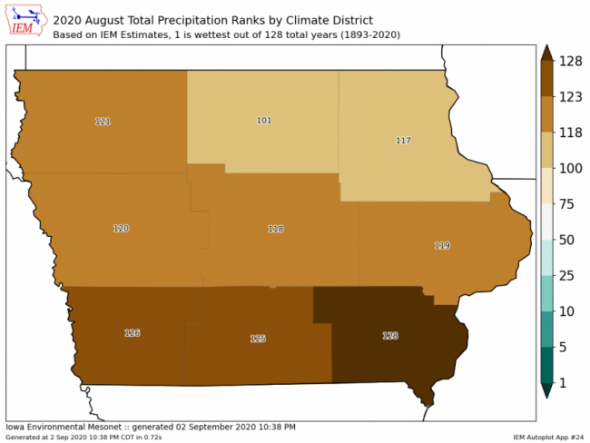 Iowa August 2020 rainfall ranking