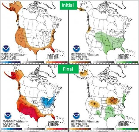NOAA Climate Prediction Center 0.5 month lead vs. final outlook
