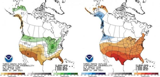 Three month precipitation and temperature outlooks from NOAA showing Iowa with an approximate 33% chance of above normal temperatures and equal chances of above or below normal precipitation for most of Iowa..