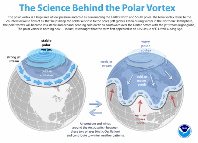 Graphic demonstrates what happens when the polar vortex is unstable, creating waves of cold air that move south from the artic.