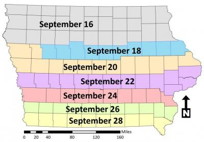 Hessian fly free dates on Iowa map
