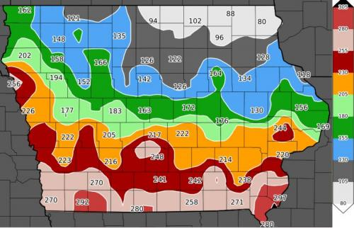 Accumulated degree day map for alfalfa weevil 2017
