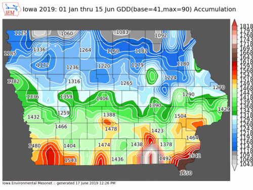 2019 degree day map for stalk borer.