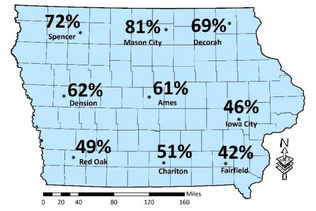 predicted mortality map of Iowa