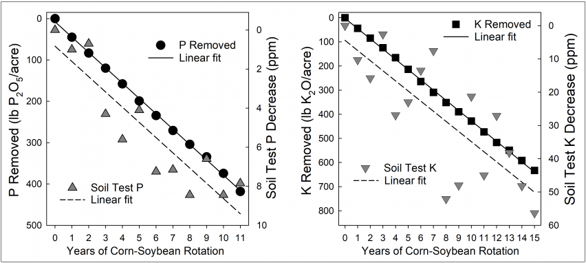Figure 2. Relationship between cumulative P and K removed with grain harvest and soil-test change over time for plots not fertilized with P or K (Bray-1 for P and ammonium-acetate or Mehlich-3 tests for K).