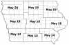 Estimated black cutworm dates for each Iowa crop reporting district based on peak flights during April.