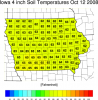 Map of Iowa 4 inch soil temperatures Oct. 12, 2008